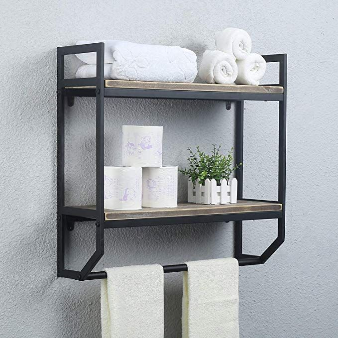 Amazon Com 2 Tier Metal Industrial 23 6 Bathroom Shelves Wall