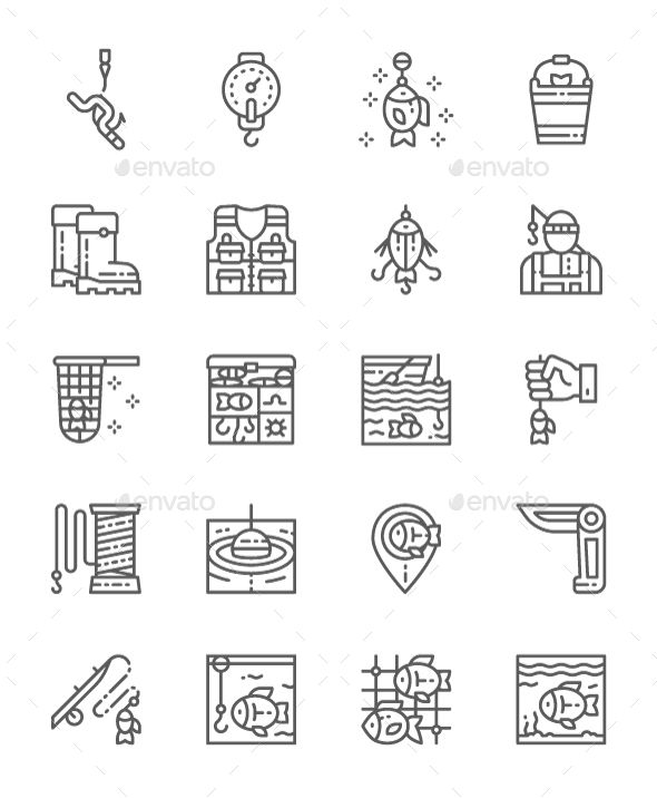 Set Of Fishing Line Icons  Pack Of 64x64 Pixel Icons  Fully