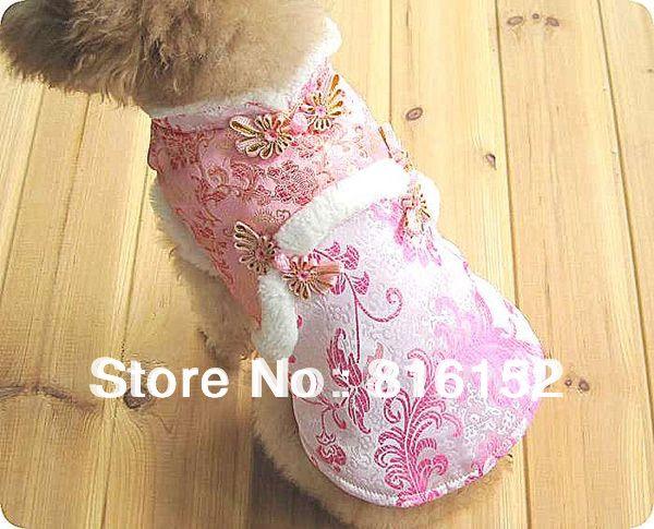 Зима мода одежды собаки китайского тан животное жилет пиджак с розовым цветочные принты