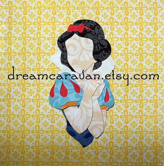 NEW: pocket princesses! This miniature piece is a six-inch square, featuring a tiny Snow White in profile on a yellow background. The third picture