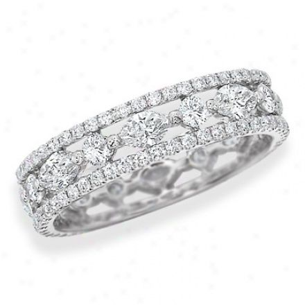 18k White Gold Diamond Eternity Ring With Pave Edges And Alternzting Round And Marquis-cut Diamonds, 4mm Wide, 0.92 Ctw