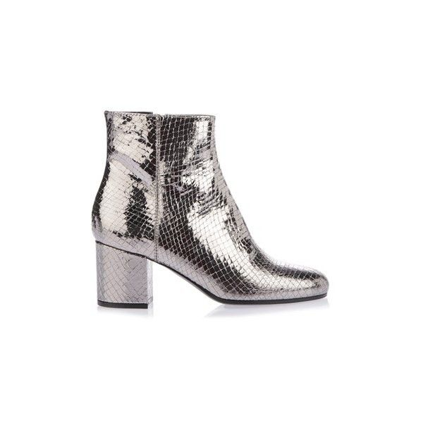 PARIS TEXAS Silver-Tone Ankle Booties (6,550 EGP) ❤ liked on Polyvore featuring shoes, boots, ankle booties, silver, chunky heel booties, leather ankle booties, round toe booties, round toe ankle booties and rounded toe boots
