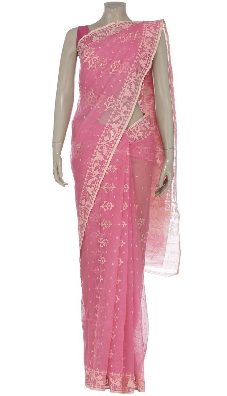 Pink Half Silk Jamdani Saree