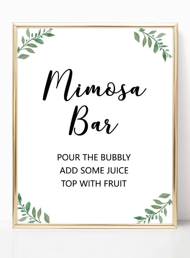 image regarding Mimosa Bar Sign Printable named Greenery mimosa bar indicator printables, backyard garden wedding day mimosa