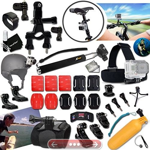 Xtech Must Have GoPro HERO ACCESSORIES Kit Bundle for GOPRO HERO4 Session HERO4 HERO 4 3 3 2 1 Hero4 Hero3 Hero2 Hero 4 Black Hero 4 Silver Hero 3 White Hero 3 Black Hero 3 Silver Hero 960 Surf HERO Includes: Camera Helmet Harness Mount  Head Strap Mount  Bike Handlebar Mount  Chest Strap Mount  2 J-Hooks  Camera Wrist Mount  3 Flat Adhesive Stickers  Flat Surface Mounts  3 Curved Adhesive Stickers  Curved Surface Mounts  Remote Control Wrist Strap  Assorted Clips and Mounts  2 Screen…