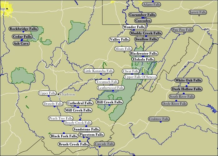 There are 275 waterfalls in West Virginia, including some impressive underground ones. This map obviously shows just a tiny fraction.
