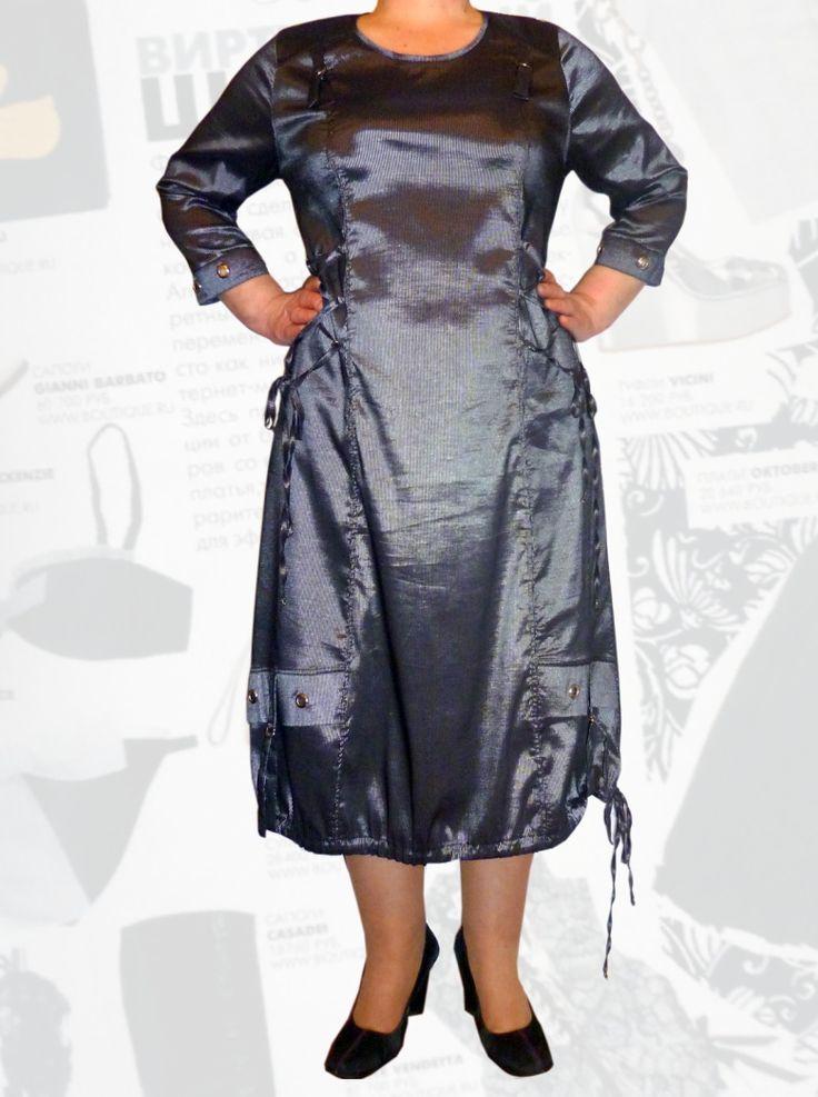 70$ Платье больших размеров с серебряной полоской (ширина полоски 1 мм) и шнуровкой Артикул 348, р50-64