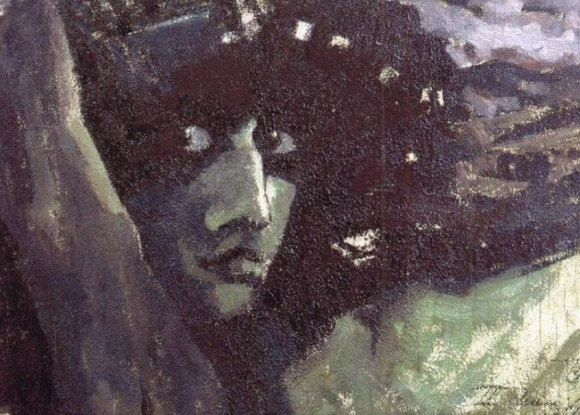 Head of a Demon with Mountains, 1890 - Mikhail Vrubel - WikiArt.org