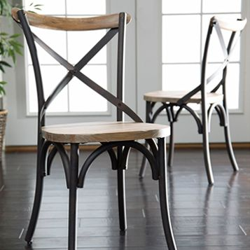 Walker Edison Industrial Reclaimed Solid Wood Dining Chairs, Set of 2 #affiliate