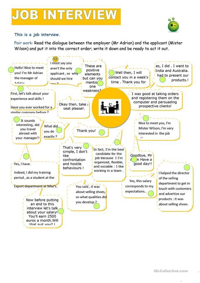 job interview worksheet