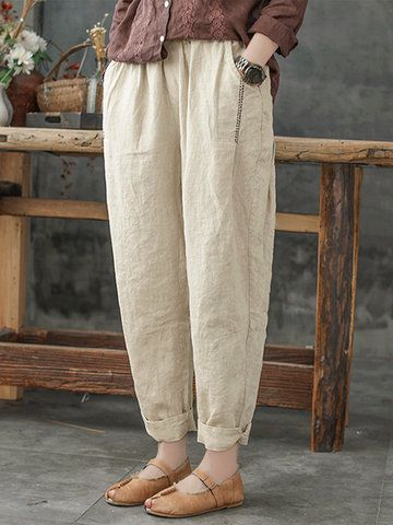 ZANZEA Vintage Striped Elastic Waist Pants with Pockets - Newchic Mobile 3