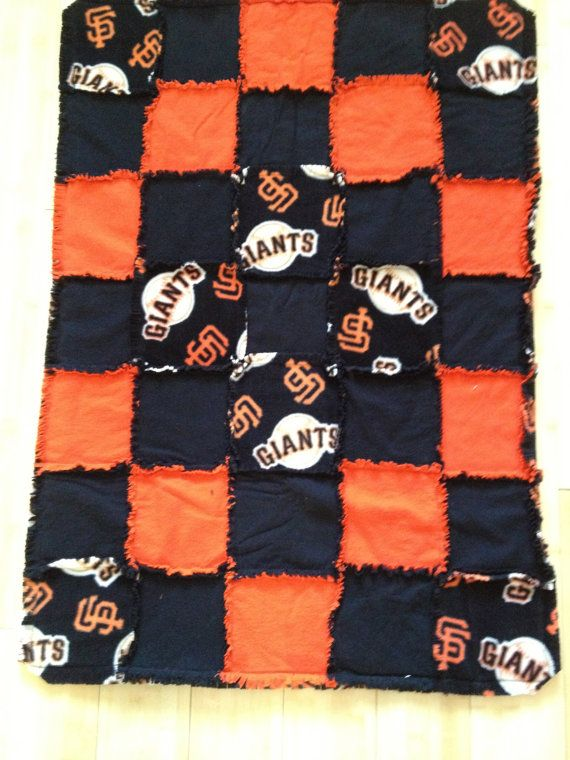 STILL AVAILABLE Mini small dog child infant baby size orange by black flannel, san francisco giants fleece rag quilt with batting WhenDoxiesFly (twenty percent goes to charity of buyers choice) Shop for others or request a custom order at www.etsy.com/shop/WhenDoxiesFly