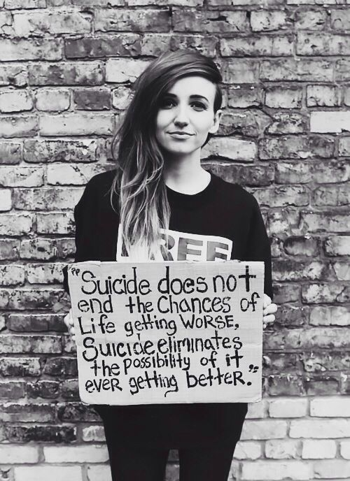 Lights holding the suicide sign