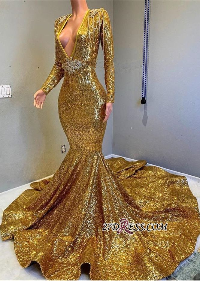 54e6e0990b47 Gorgeous Long Sleeve Gold Sequins Prom Dresses 2019 Mermaid Evening Gowns  On Sale BC0959 Item Code: RM101 #Ad #Prom, #Sequins, #Dresses, #Long