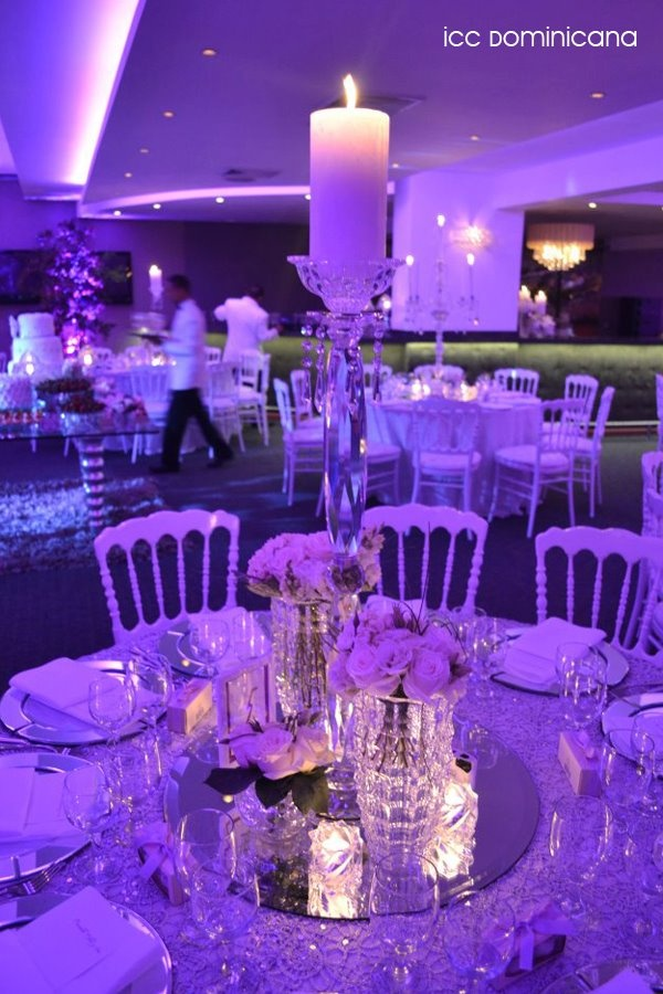 love love love the mirror under the candles white, silver and purple wedding