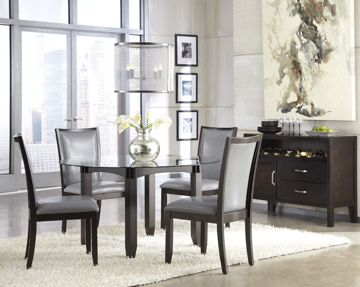 Trishelle Round Glass Top Dining Table W/ 4 Cream Upholstered Side Chairs,