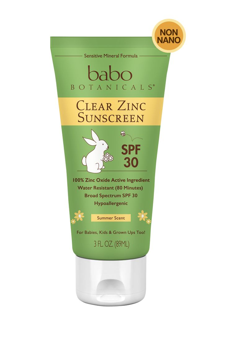 Help prevent sunburn with Babo Botanicals clear zinc SPF 30 sunscreen. Our formula is non-nano, contains high UVB/UVA protection and, as always, is all natural and kid-safe.Contains 18.4% Zinc, the most effective and safest sunscreen ingredient, and skin-soothing certified organic oils. This hypo-allergenic sunscreen is non-greasy and doesn't run in eyes.