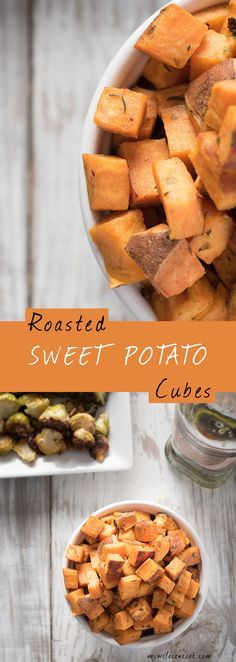 Oven Roasted Sweet Potato Cubes. We buy a lot of sweet potatoes in our house. For one, they are easy to find and inexpensive: both important considerations when on a budget. But also, sweet potatoes are versatile, have some health advantages, and our kids will eat them. We love making sweet potato fries and these roasted sweet potato cubes. We roast them in the oven until they get a good crisp...crispy sweet potatoes are better than mushy sweet potatoes. Easy prep, simple seasoning, enjoy!