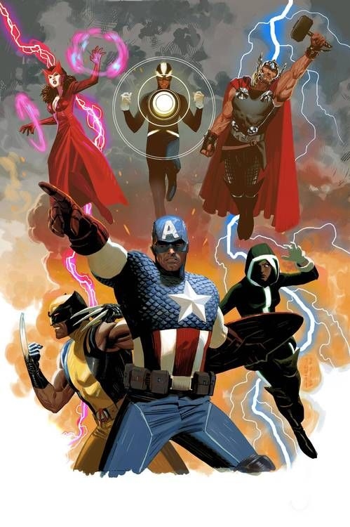 """UNCANNY AVENGERS A new team of Avengers that features a line-up of both classic Avengers and X-Men includingCaptain America,Havok,Rogue, theScarlet Witch,Thorand Wolverine. The team is a response to the events ofAvengers vs. X-Men. Remender said, """"There's something thatCyclopssaid to Cap onUtopiathat's ringing in his head. He didn't do enough to help. And Steve is taking that to heart."""""""