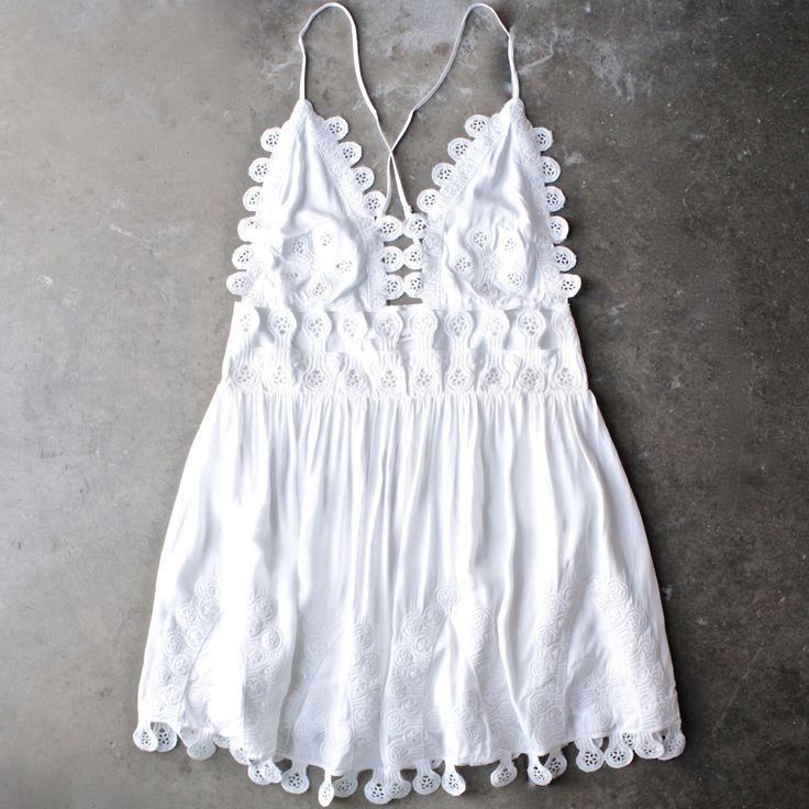 summer lace mini dress - coconut from shophearts. Saved to DESERT WANDERER. #graduation #spring #dress #summer #white.