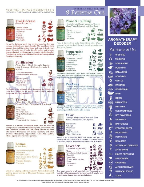 Printable Young Living Party Handout - Everyday Uses for the 9 Everyday Essential Oils. $5.00, via Etsy.