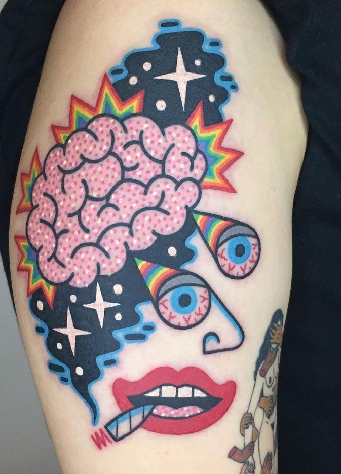 Trippy Stoner Tattoo Designs : trippy, stoner, tattoo, designs, Staggering, Stoner, Tattoo, InkStyleMag, Psychedelic, Tattoos,, Alien, Tattoo,, Tattoos