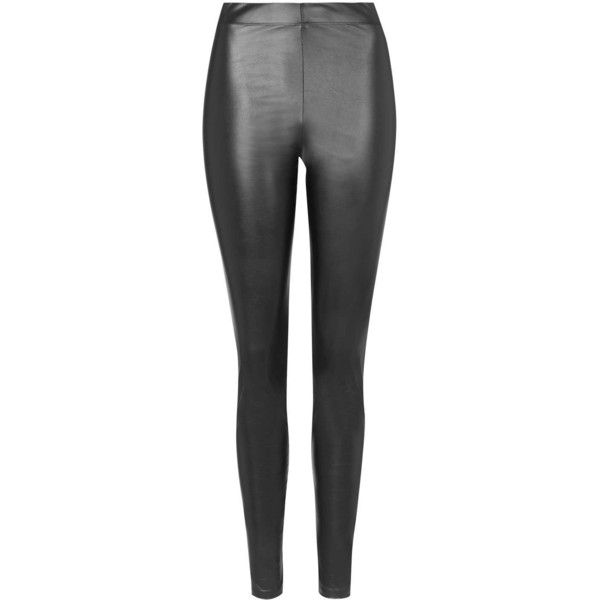 TopShop Tall Wet-Look Leggings ($25) ❤ liked on Polyvore featuring pants, leggings, jeans, bottoms, black, legging pants, tall pants, topshop pants, topshop and elastic waistband pants