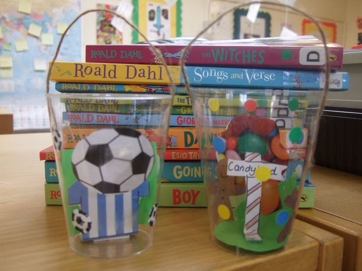 Roald Dahl BFG inspired Dream Jars- 'sweet dream' or 'Football Fan' dream. Made from small clear plastic disposable tumblers and string. Cut out ginger men, lollipops and sign post for a sweet dream with small coloured stickers as gum drop rain. Football shirts and footballs and DIY football stickers for football fan dreams. takes approx. 15 min if you do most of the cutting out!
