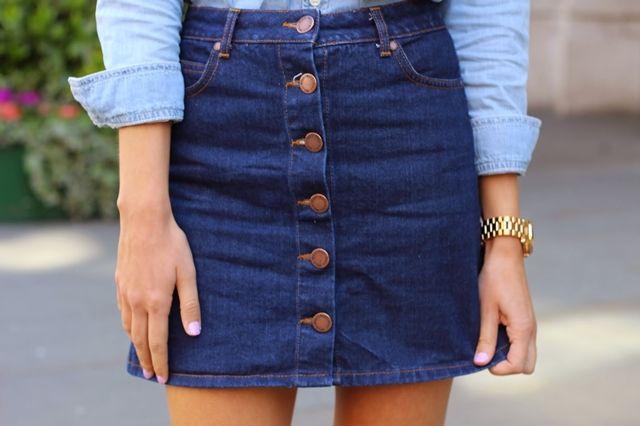 saia jeans com botão - Pesquisa Google