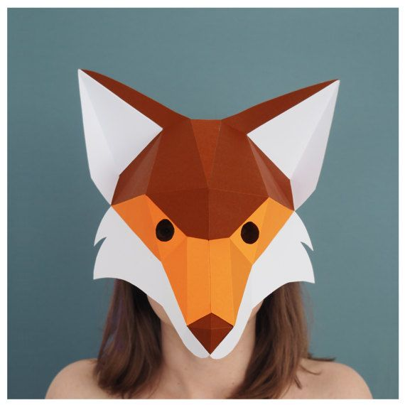 Fox mask DIY Costume Paper creation PDF pattern printable art Woodland collection Animal Mask make your own Fox Head papercraft half mask
