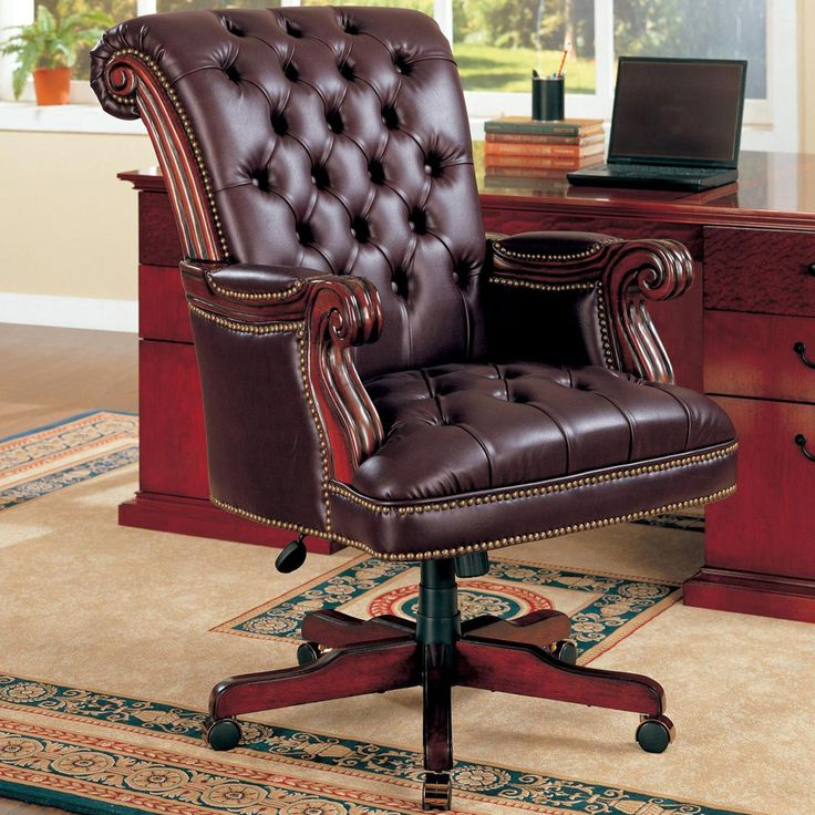 Office Workspace Strong And Comfortable Chair From Leather Set Near Wooden Drawer Table