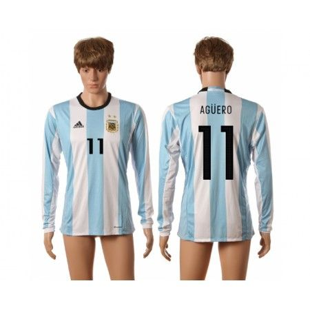 Argentina 2016 Aguero 11 Hjemmebanetrøje Lange ærmer #Billige Fodboldtrøjer