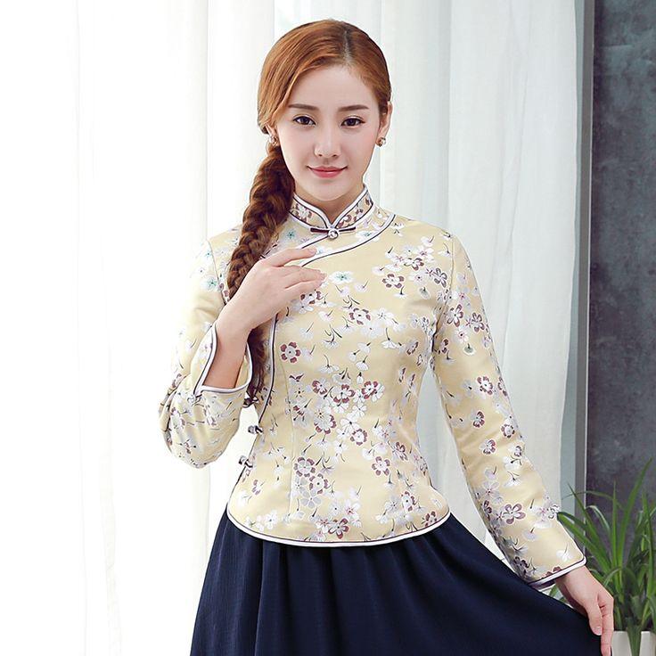 Appealing Jacquard Long Sleeve Qipao Cheongsam Shirt - Chinese Shirts & Blouses - Women