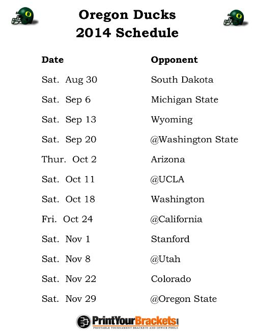 Printable Oregon Ducks Football Schedule 2014