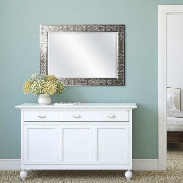 Image Of Stamped Silver Medallion Finish Beveled Mirror
