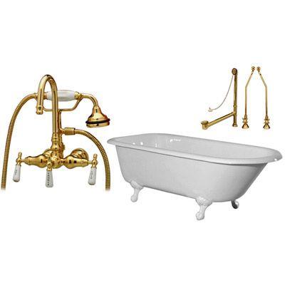 Randolph Morris Tub Package 28: 72 Inch Clawfoot Bathtub With Wall Mount  Bath Tub
