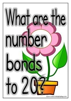 With a prompting title page, here is a set of 22 printables showing the number bonds that make 20. Each page shows a number bond with a flower and leaves. Will brighten up the classroom! Visit our TpT store for more information and for other classroom display resources by clicking on the provided links.