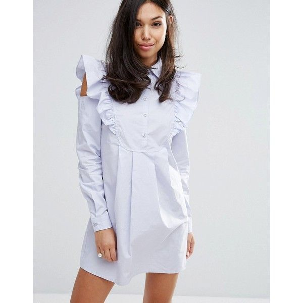 Fashion Union Shirt Dress With Sleeve Detail featuring polyvore women's fashion clothing dresses purple purple dresses long sleeve party dresses party dresses little black dress long-sleeve maxi dresses