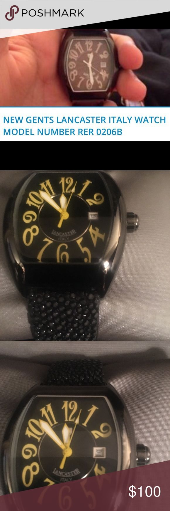 Lancaster Italy watch Lancaster Italy Watch. Yellow large numbers with black background. Black Leather beveled band with adjustable fastener. Comes with ref# tag and instruction booklet. (Unisex) Lancaster Italy Accessories Watches