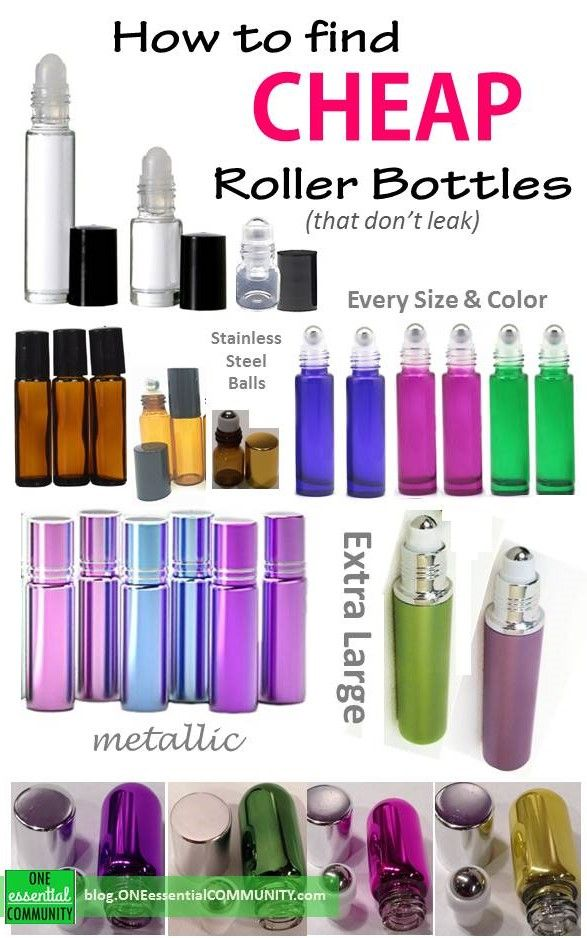 List of the best deals on all kinds of essential oil roller bottles!  clear roll-on bottles, amber roll-on bottles, colorful roll-on bottles, metallic roll-on bottles, extra-large roller bottles, and the cutest teeny tiny roller bottles