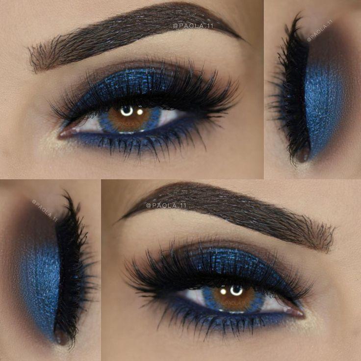 shimmery blue smokey eye makeup @ paola.11