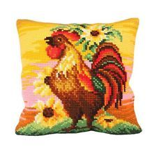 """Collection D'Art TOP BRASS Chunky Cross Stitch Cushion Front Kit 16"""" X 16"""""""