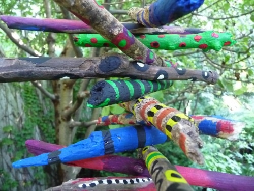 Spring art project! You'll get to enjoy these painted sticks hanging in
