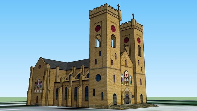 Google-Earth - 3D SketchUp Model - initial view.  St. John's Catholic Church, Beloit, KS. http://simplicityhumilitytrust.org