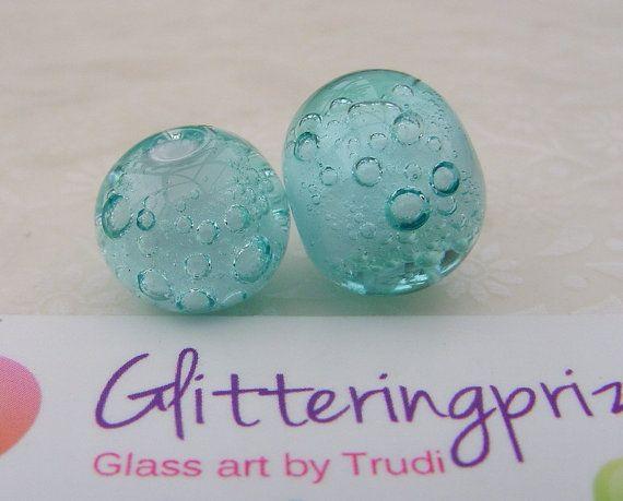 Glass Lampwork Beads Aqua Blue Bubbles by GlitteringprizeGlass for jewellery / jewelery making