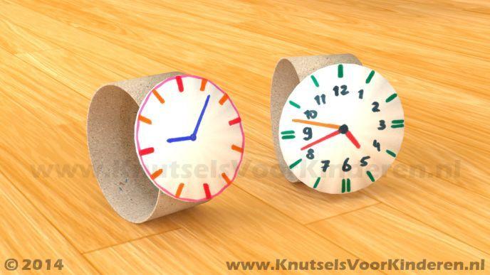 Horloge van wc rol – Knutsels Voor Kinderen – Leuke Ideeën om te Knutselen met … – Handwerk Met Kinderen