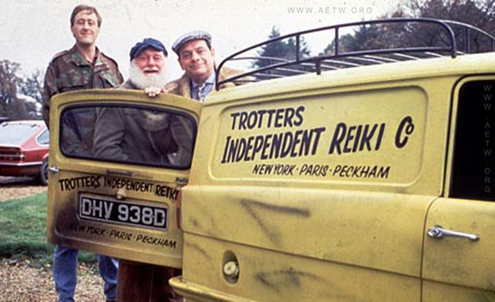 "Trotter's Independent Reiki Co. ""ONLY FOOLS AND HORSES work."" 'Del Boy' sensei and his two apprentices:."