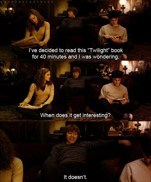 harry potter - i liked twilight only because a Harry Potter cast member was in it. this was just too funny :)