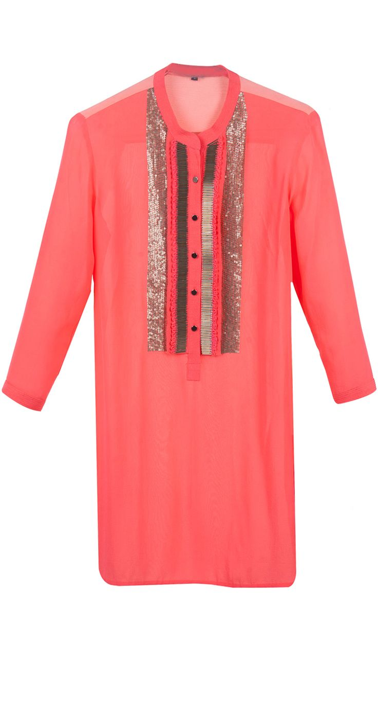 Colour block tunic with sequins and embroidered detailing by ROHIT GANDHI AND RAHUL KHANNA. Shop at http://www.perniaspopupshop.com/whats-new/rohit-gandhi-and-rahul-khanna-7450