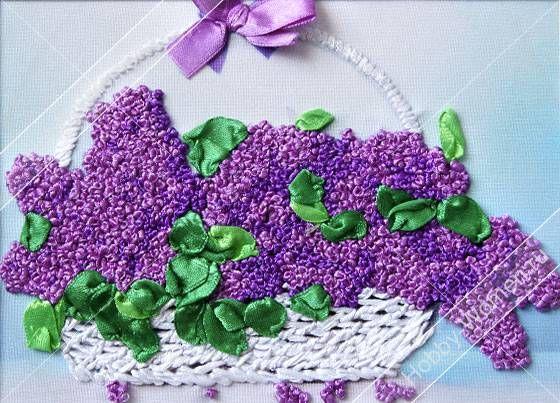 Набор для вышивания лентами Woman-Hobby ВЛС0015 Корзинка сирени